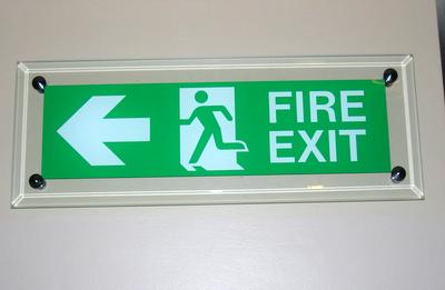 Prestigious Glass Fire Exit Sign