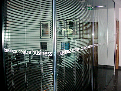 Graphics have been applied to the glass for room reference