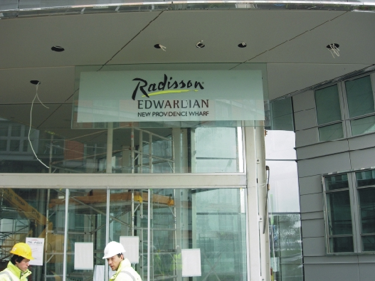 Hotel frontage sign